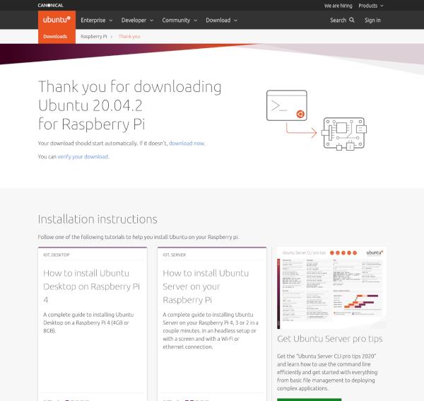 Ubuntu Server 20.04.2 下載頁面截圖