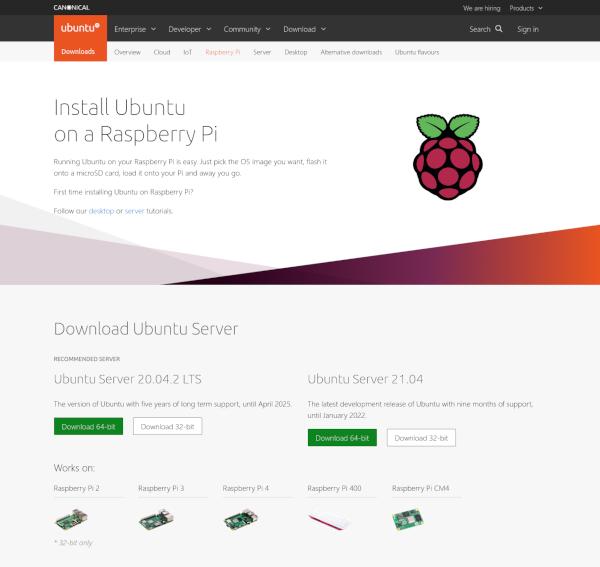 Ubuntu Server 版本選擇頁面截圖